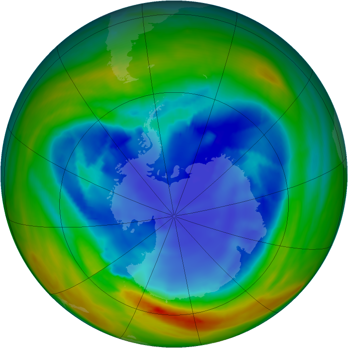 Antarctic ozone map for 19 August 2007