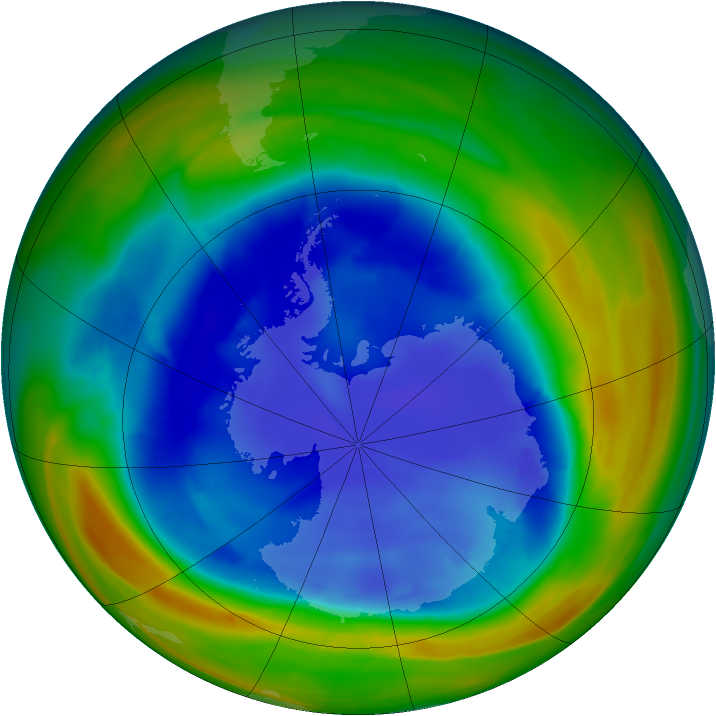 Antarctic ozone map for 22 August 2007