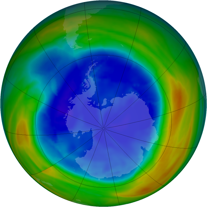 Antarctic ozone map for 23 August 2007