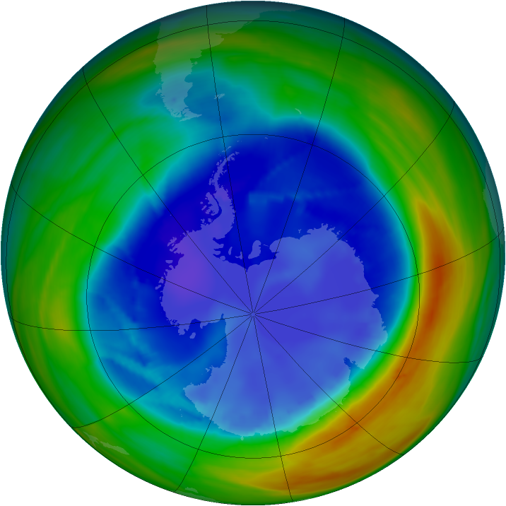 Antarctic ozone map for 24 August 2007