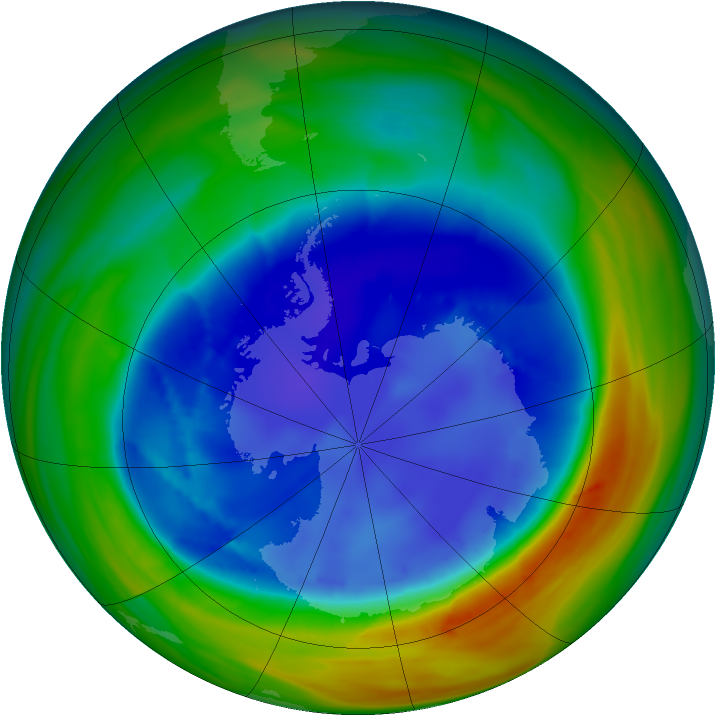 Antarctic ozone map for 25 August 2007