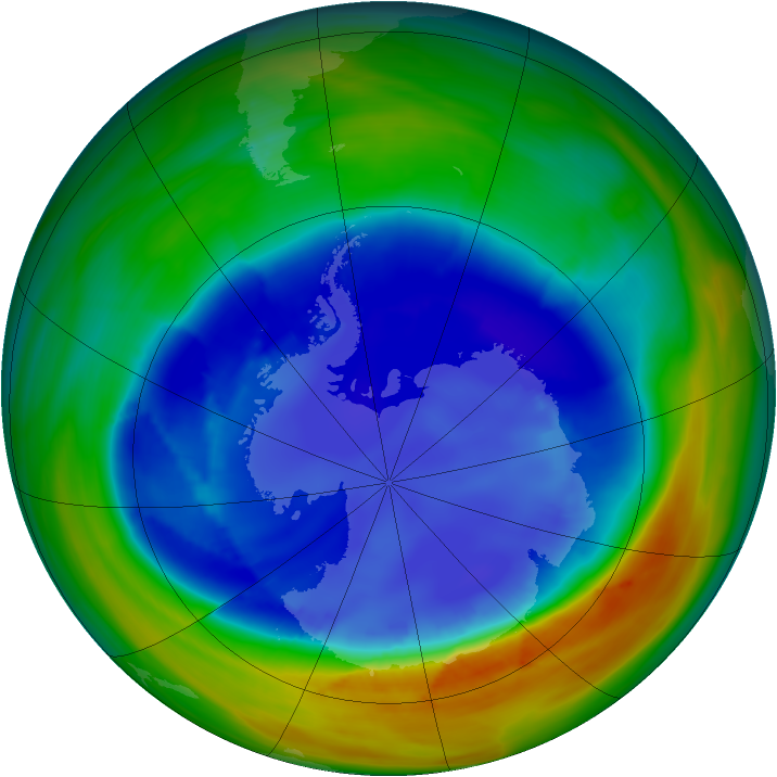 Antarctic ozone map for 26 August 2007