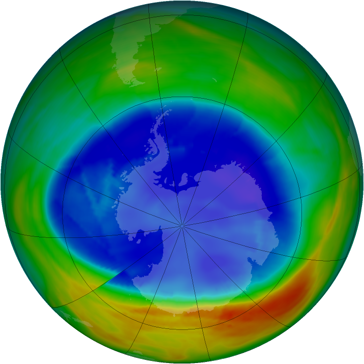 Antarctic ozone map for 27 August 2007