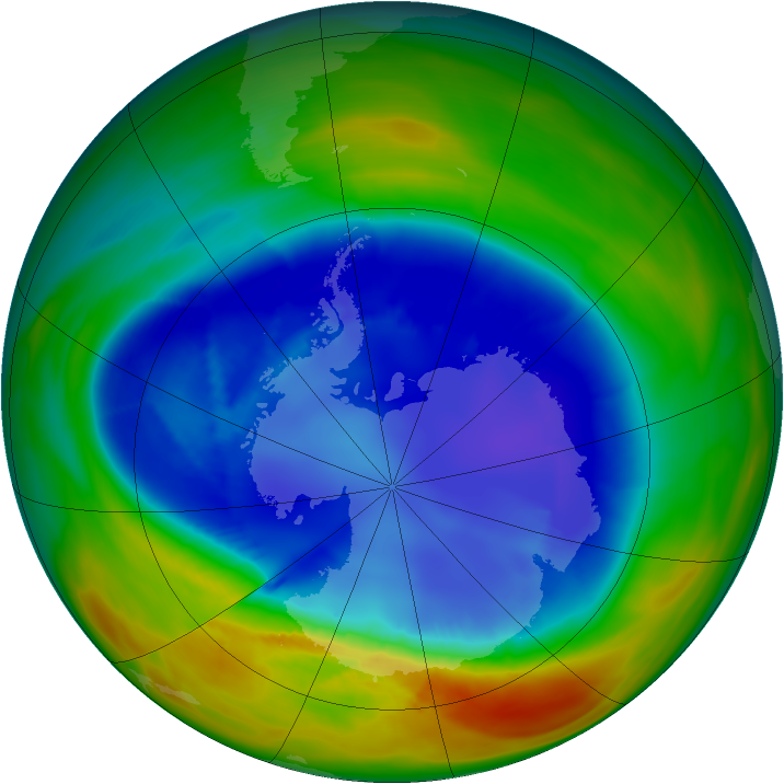 Antarctic ozone map for 28 August 2007