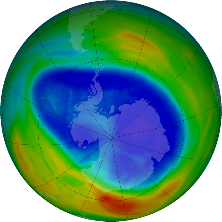 Antarctic ozone map for 29 August 2007