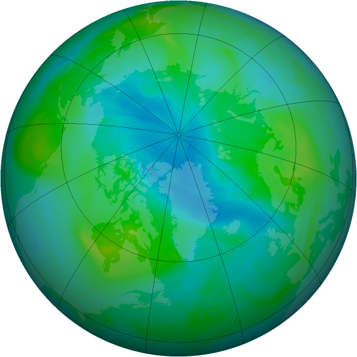 Arctic ozone map for 30 August 2007