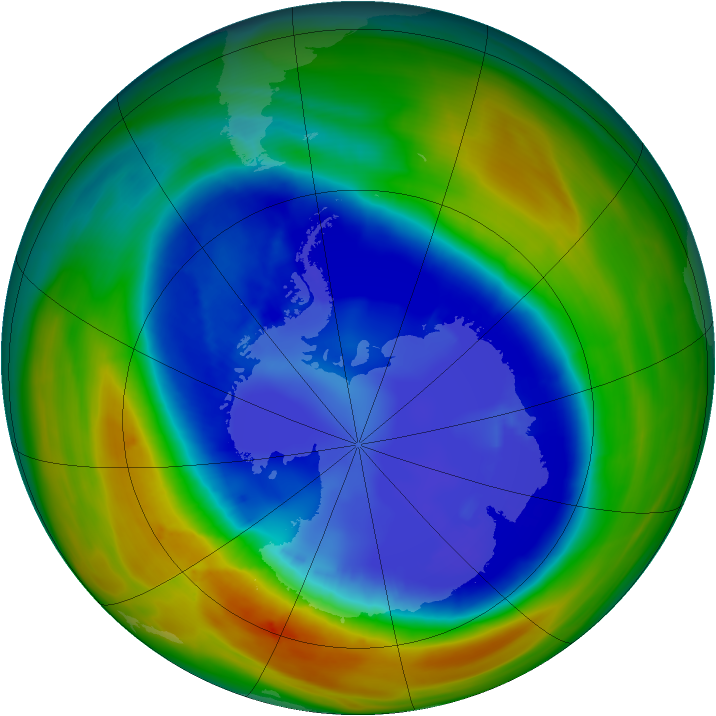 Antarctic ozone map for 30 August 2007