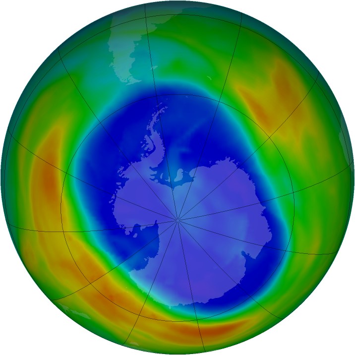Antarctic ozone map for 31 August 2007