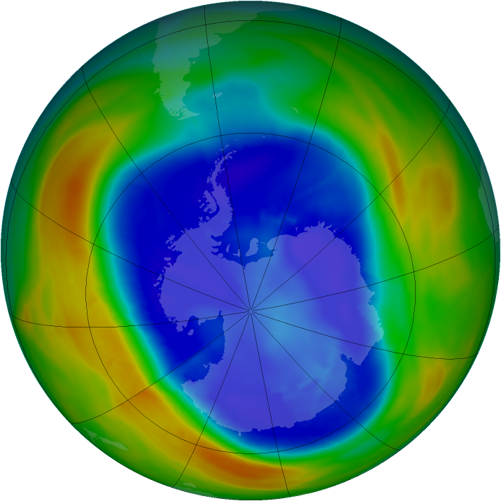 Antarctic ozone map for 01 September 2007