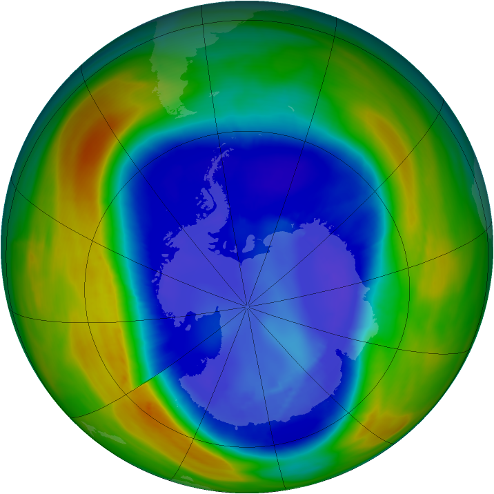 Antarctic ozone map for 02 September 2007