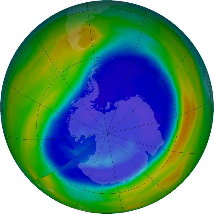 Antarctic ozone map for 04 September 2007