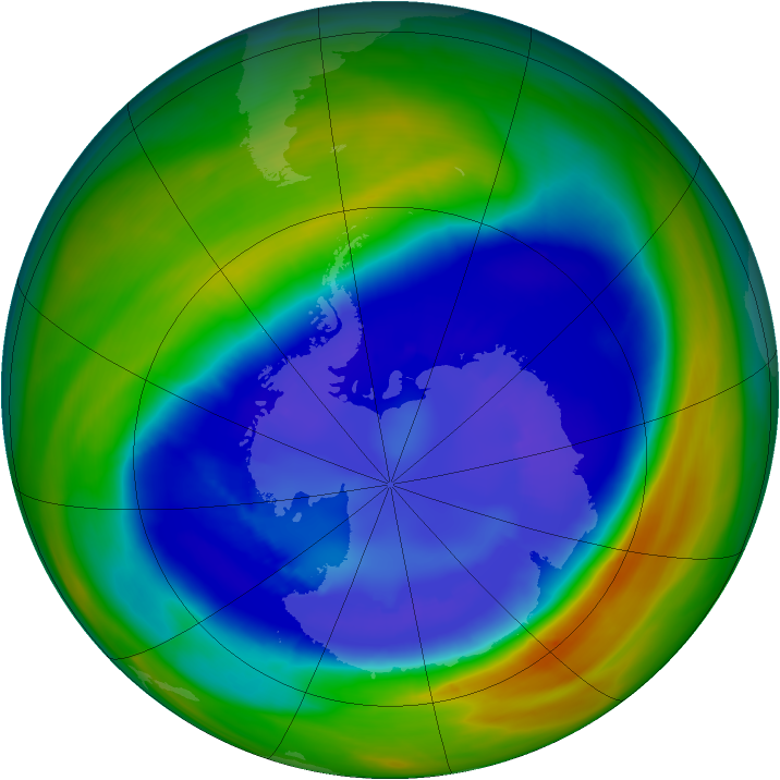 Antarctic ozone map for 05 September 2007