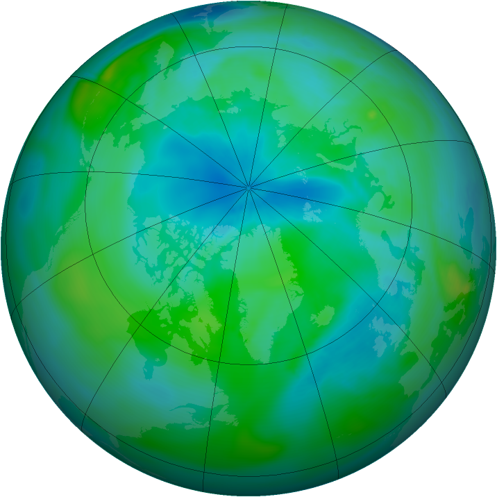 Arctic ozone map for 07 September 2007
