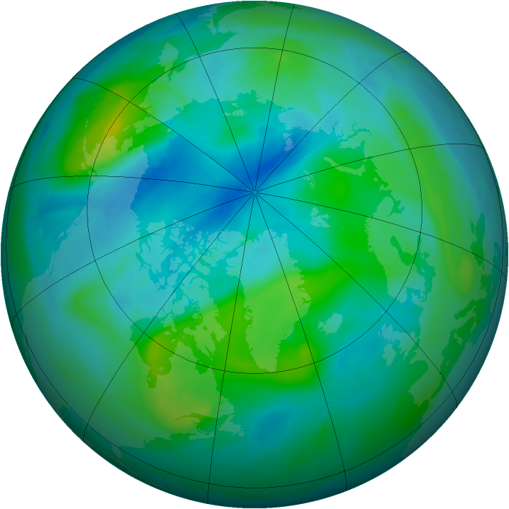 Arctic ozone map for 12 September 2007