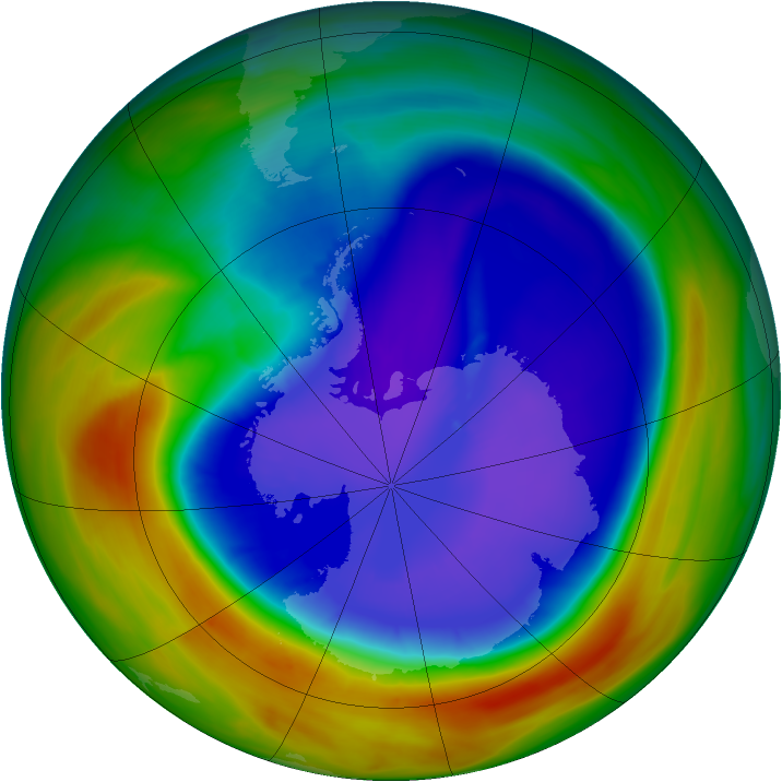 Antarctic ozone map for 15 September 2007