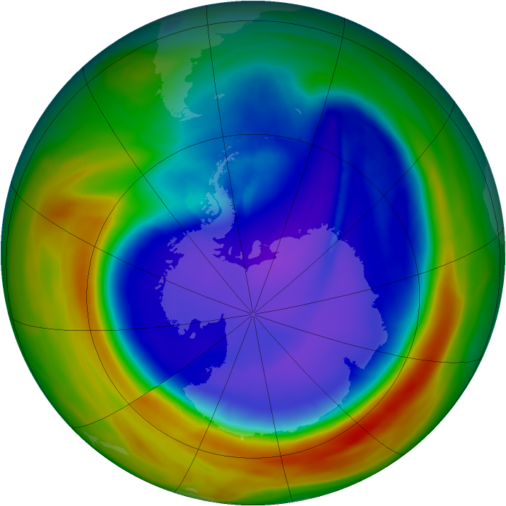 Antarctic ozone map for 16 September 2007