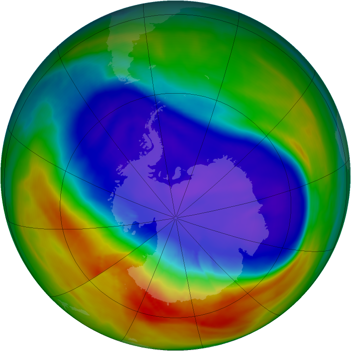 Antarctic ozone map for 21 September 2007