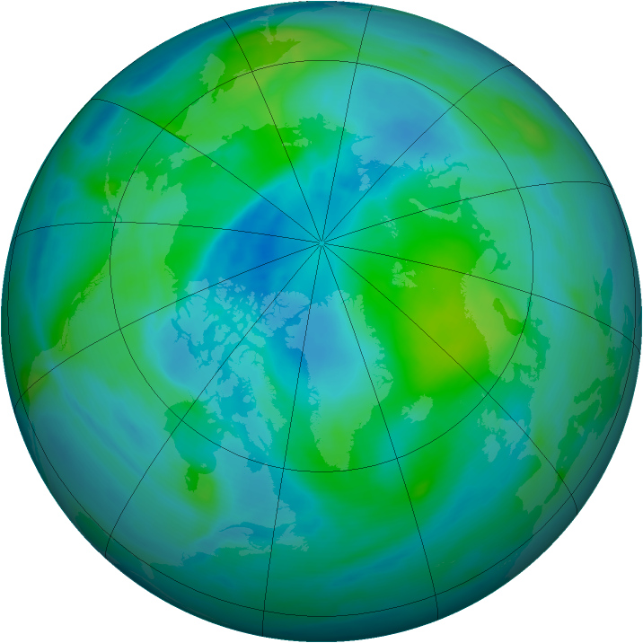 Arctic ozone map for 22 September 2007