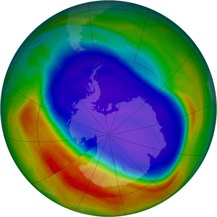 Antarctic ozone map for 22 September 2007