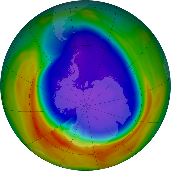 Antarctic ozone map for 24 September 2007
