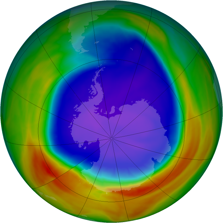 Antarctic ozone map for 25 September 2007