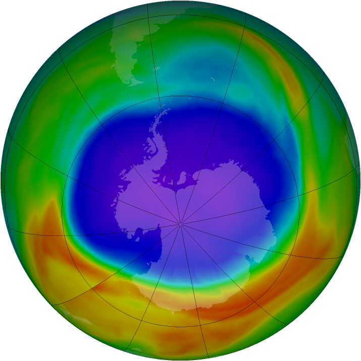 Antarctic ozone map for 26 September 2007