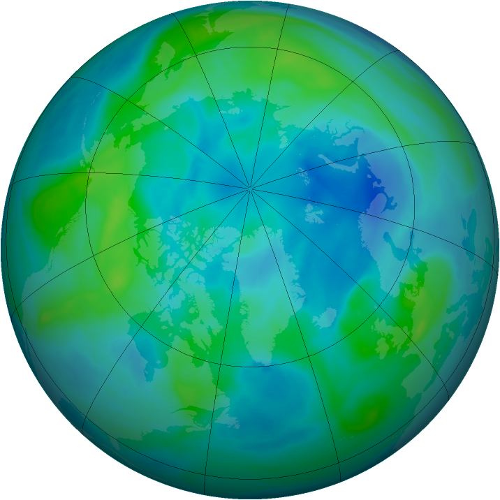 Arctic ozone map for 29 September 2007