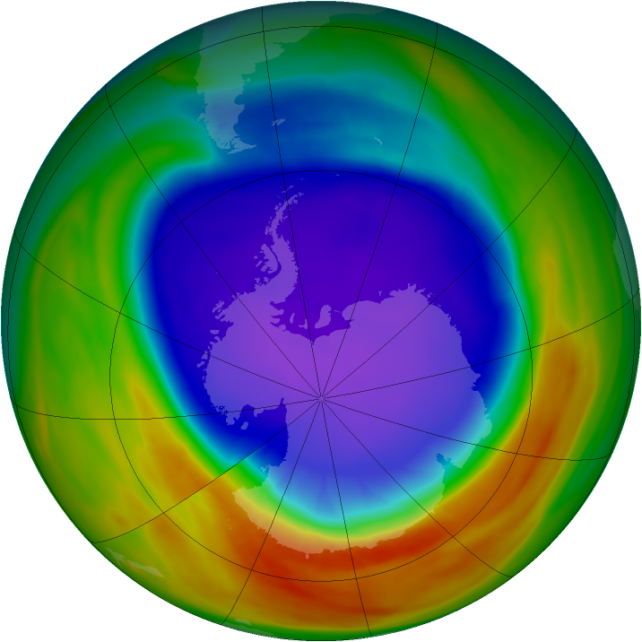 Antarctic ozone map for 30 September 2007