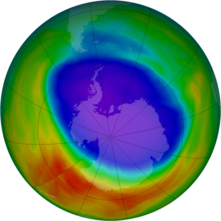 Antarctic ozone map for 02 October 2007