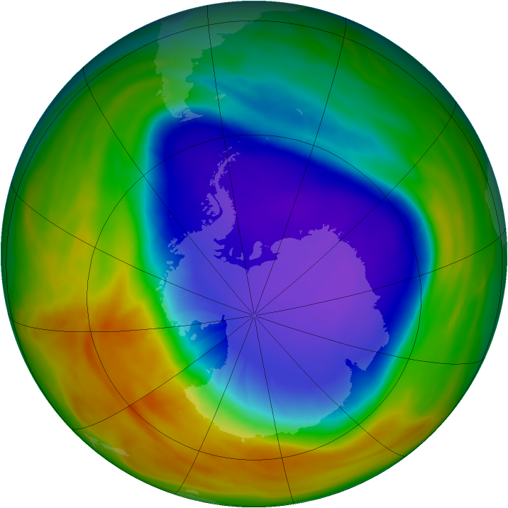 Antarctic ozone map for 04 October 2007