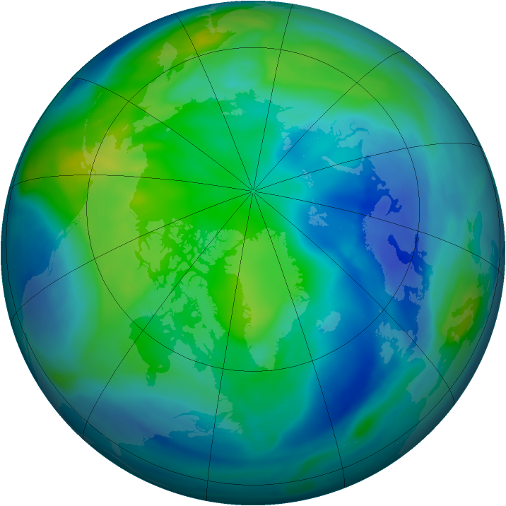 Arctic ozone map for 22 October 2007