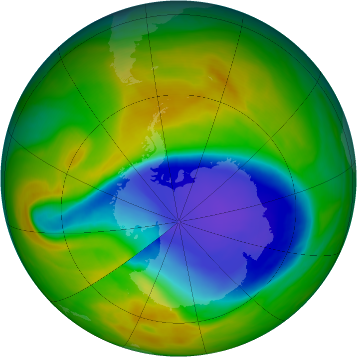 Antarctic ozone map for 30 October 2007