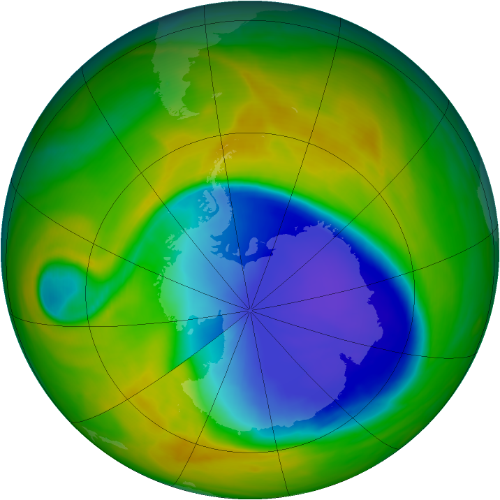 Antarctic ozone map for 31 October 2007