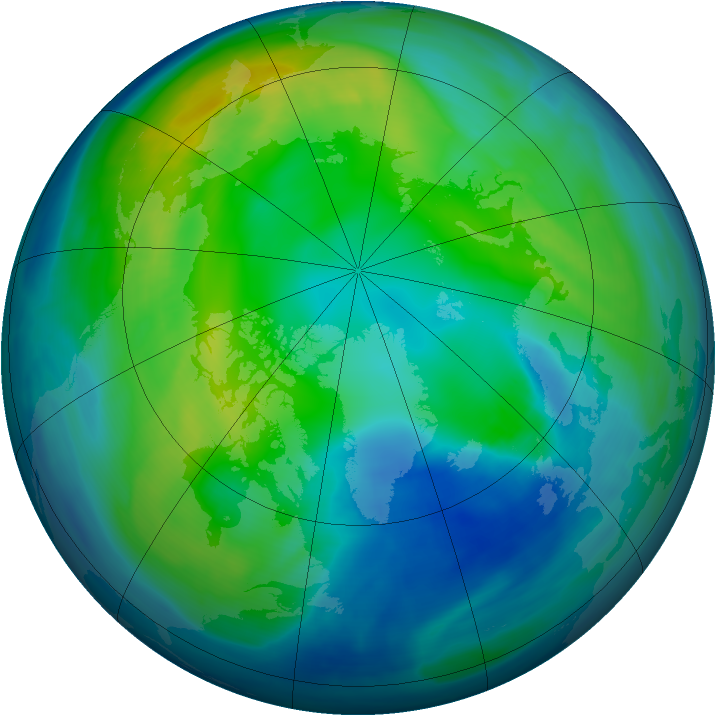 Arctic ozone map for 05 November 2007