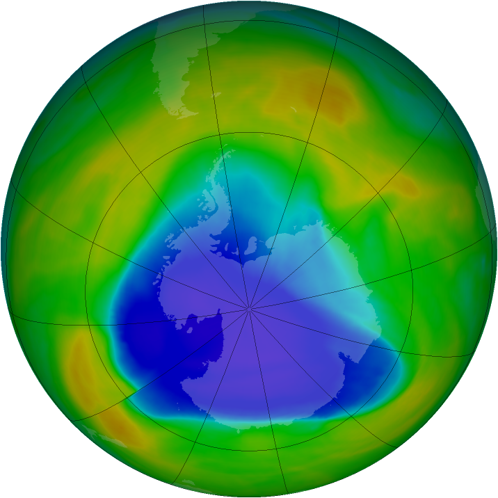 Antarctic ozone map for 05 November 2007