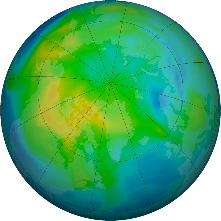 Arctic ozone map for 13 November 2007