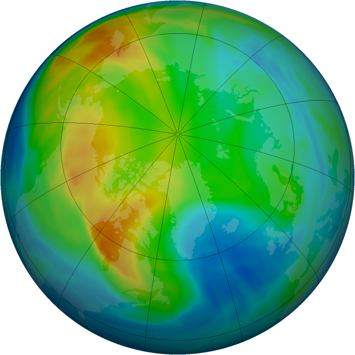 Arctic ozone map for 25 November 2007