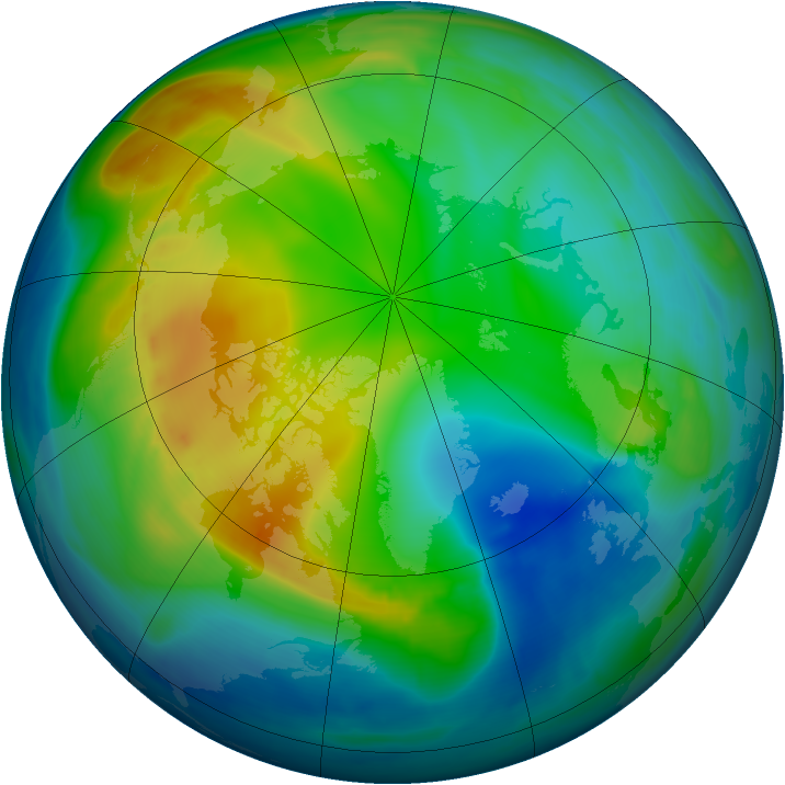Arctic ozone map for 26 November 2007