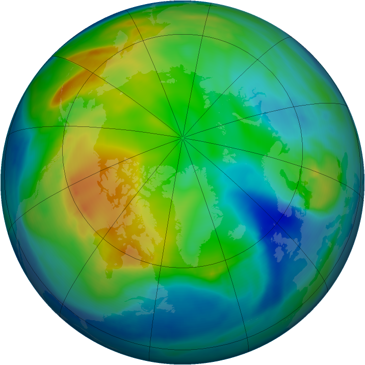 Arctic ozone map for 27 November 2007