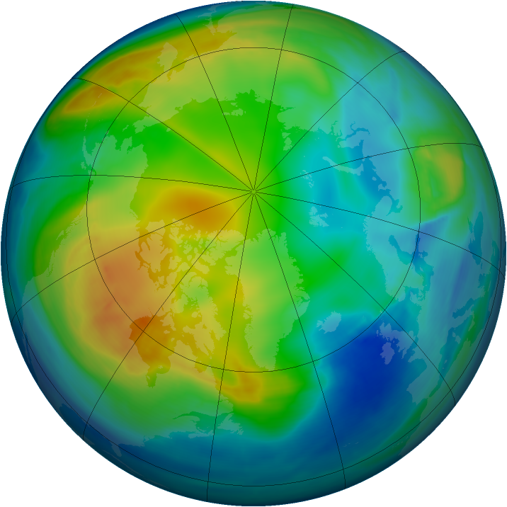 Arctic ozone map for 29 November 2007