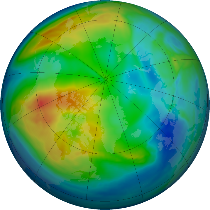 Arctic ozone map for 30 November 2007