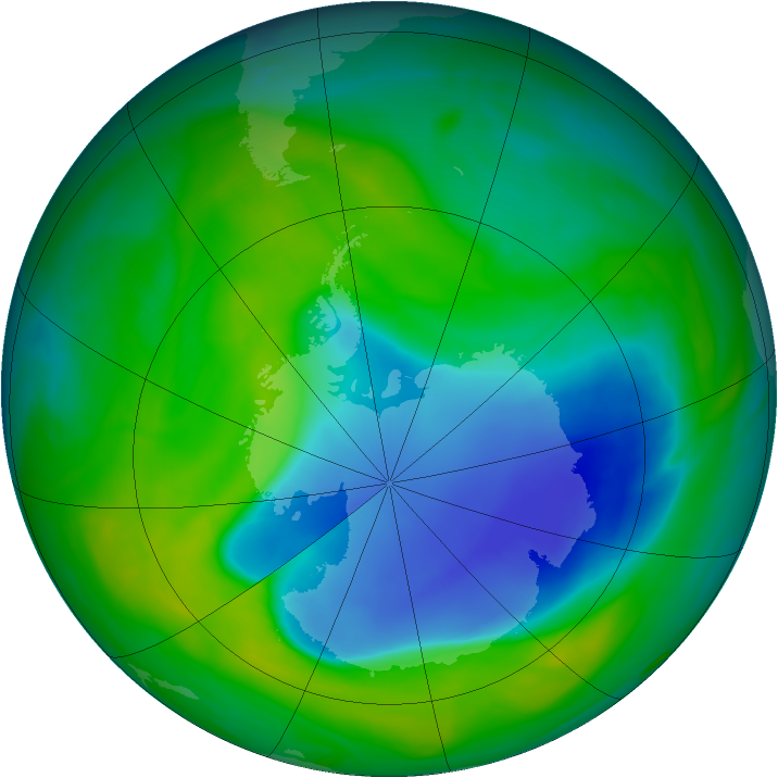 Antarctic ozone map for 03 December 2007