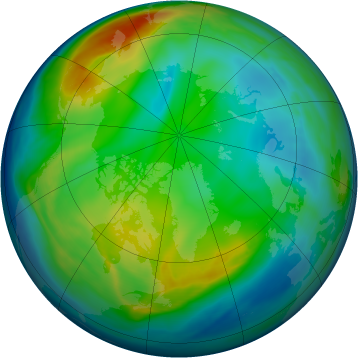 Arctic ozone map for 06 December 2007