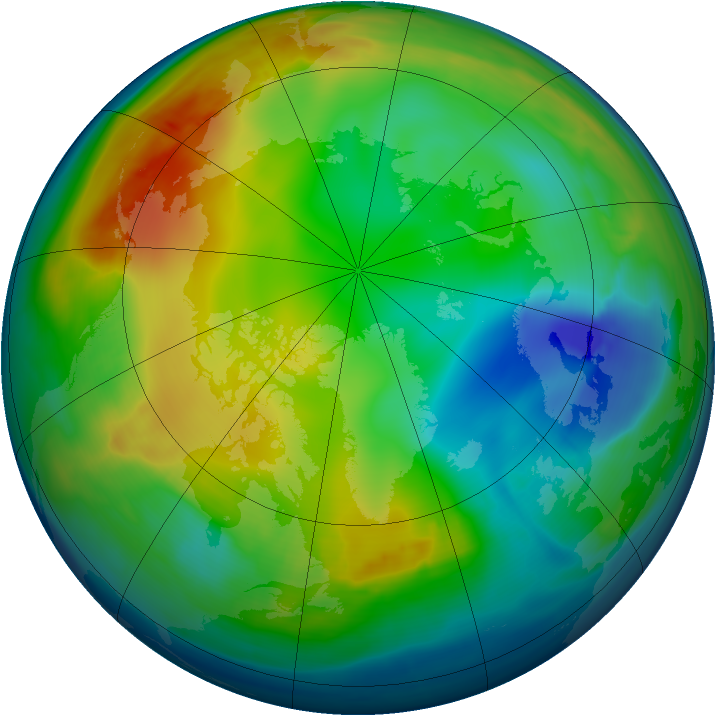 Arctic ozone map for 21 December 2007
