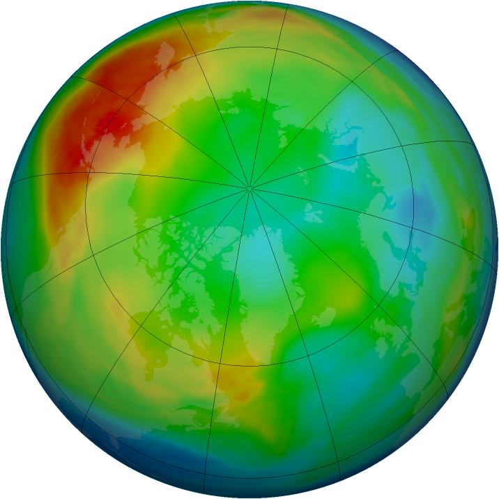 Arctic ozone map for 29 December 2007