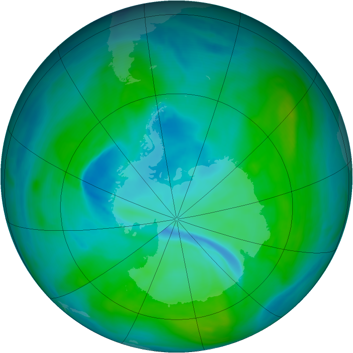 Antarctic ozone map for 30 December 2007