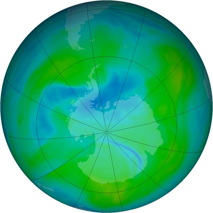 Antarctic ozone map for 31 December 2007