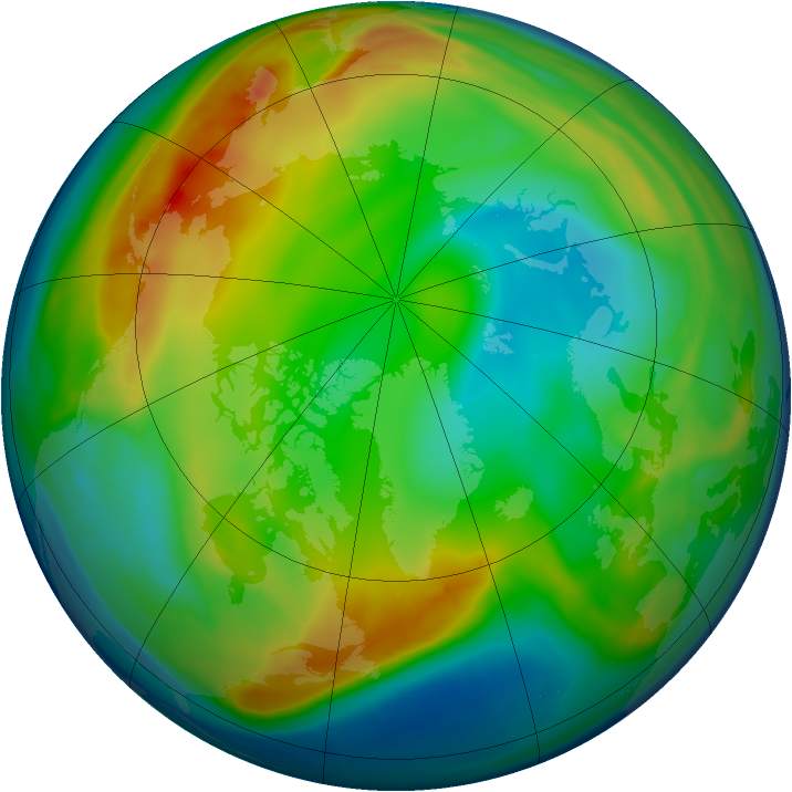 Arctic ozone map for 03 January 2008