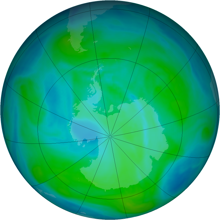 Antarctic ozone map for 09 January 2008