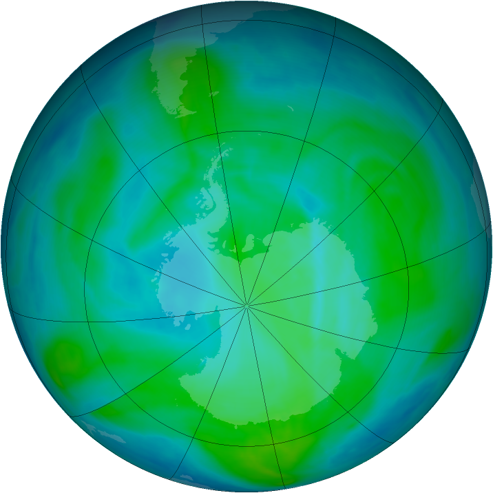 Antarctic ozone map for 10 January 2008